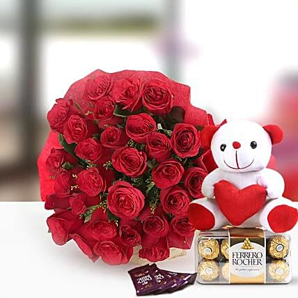 Perfect N Lovely - Bunch of 30 Red Roses, 300gm Ferrero Rocher chocolate box, 6 Inch cute soft & 4 Fruit N Nut chocolates.