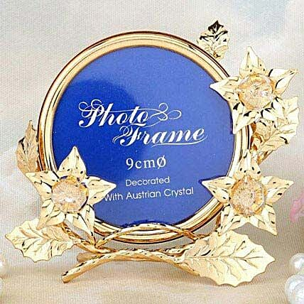 Swarovski golden frame with flowers:Gold Plated Gifts