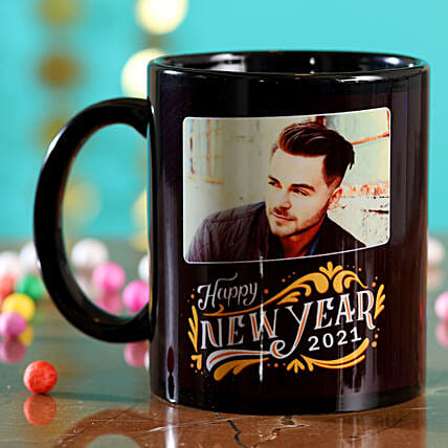 Online Personalised New Year Black Mug