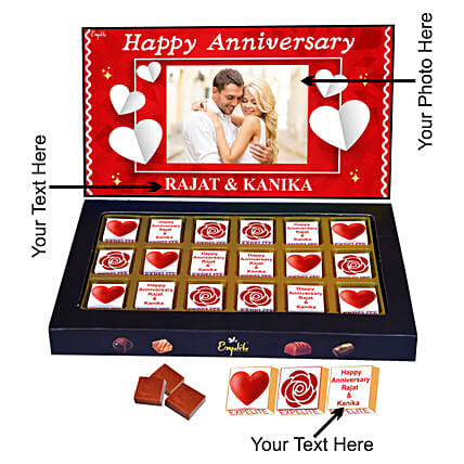 Buy Online Customised Anniversary Chocolate:Personalised Chocolates for Anniversary