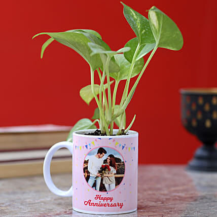 printed mug with money plant for anniversary
