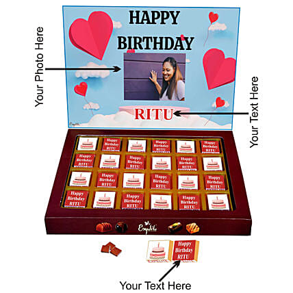 personalised chocolate box for girlfriend online:Personalised Chocolates for Birthday