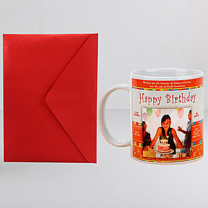 Personalised Birthday Mug n Greeting Card:Personalised Gifts Combos