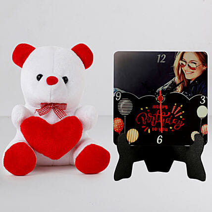 Personalised Birthday Table Clock n Cute Teddy