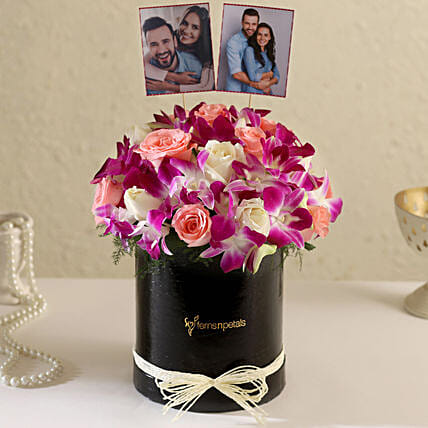 Online Customised Black FNP Floral Box Arrangement:Flowers N Personalised Gifts