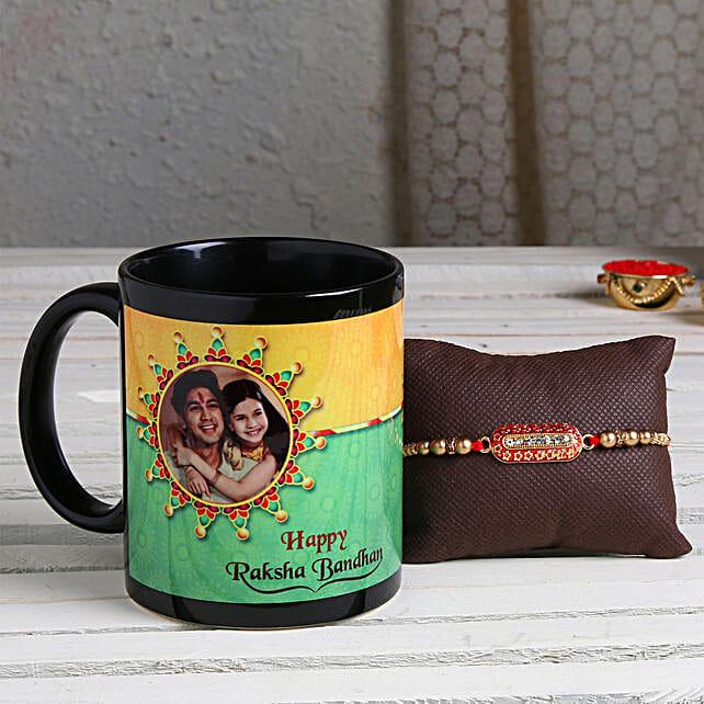 Order Personalised Black Mug Comboand Capsule Rakhi:Rakhi With Mugs