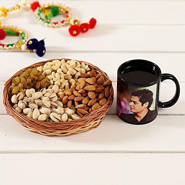 Personalised Black Mug & Dry Fruits Cane Basket