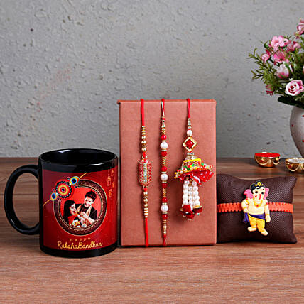 Order Personalised Black Mug & 4 Rakhi