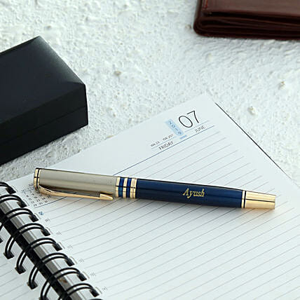 Personalised Blue And Grey Roller Ball Pen
