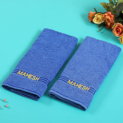 Personalised Blue Cotton Towel Pack Of 2