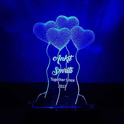 Blue Heart Shaped Balloons Night Lamp