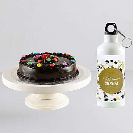 Personalised bottle and cake combo online:Cakes N Personalised Gifts