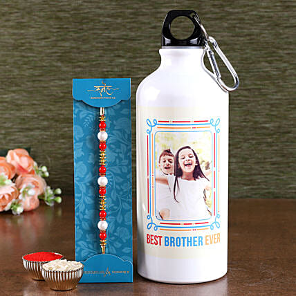 pearl rakhi with personalised bottle:Rakhi With Personalised Gifts