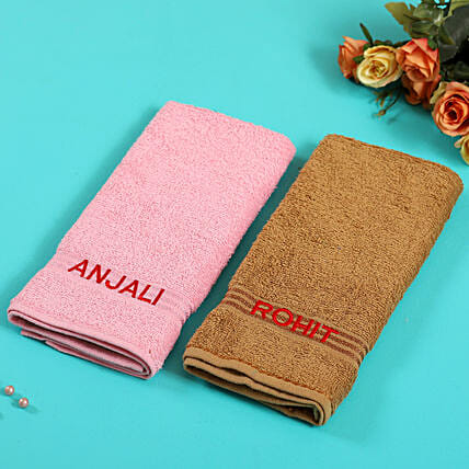 Personalised Brown And Pink Cotton Towels