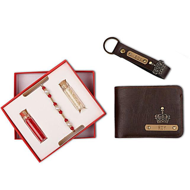 Personalised Brown Wallet & Keychain With Rakhi | Gift Personalised Brown  Wallet & Keychain With Rakhi - Ferns N Petals