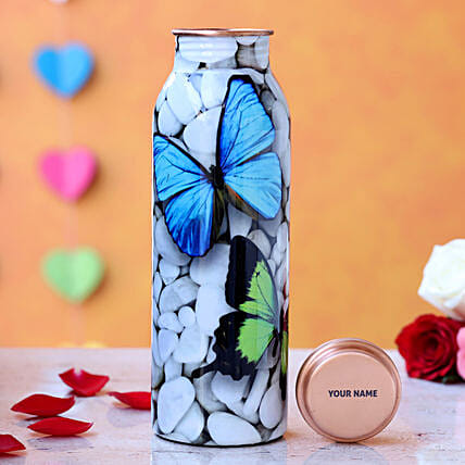 Personalised Butterfly Print Water Bottle