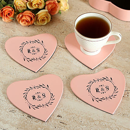 Customised Pink Tea Coaster Set