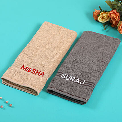 Personalised Camel And Grey Colour Cotton Towels