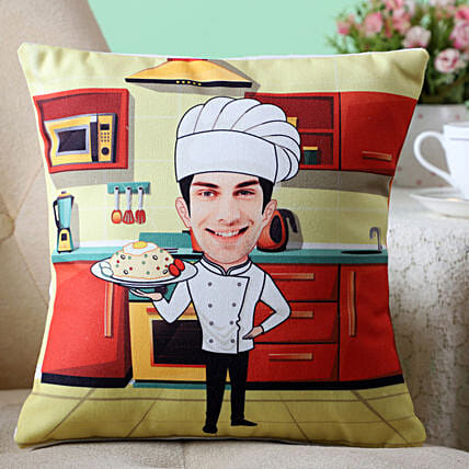 chef caricature photo printed cushion