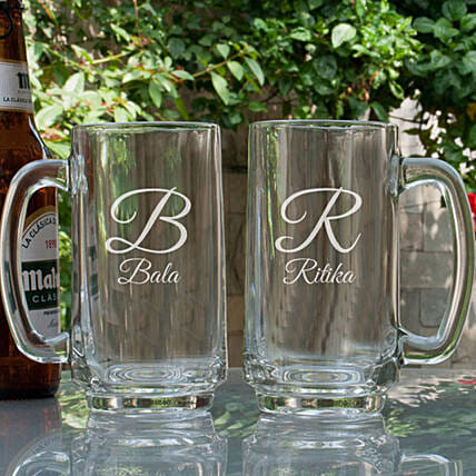 Customised Couple Beer Mugs Combo:Bar Accessories