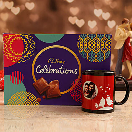 Customized Couple Photo  Coffee Mug and Cadbury Celebrations Box