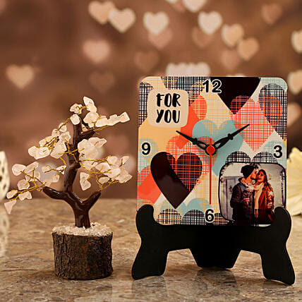 photo love table clock with rose quartz wish tree:Personalised Gifts Combo for Valentine's Day