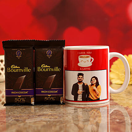 Customised Couple Photo Mug and Cadbury Bournville Chocolates