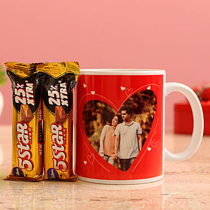 Customised Couple Photo Pretty Mug and Cadbury 5 Star Chocolates