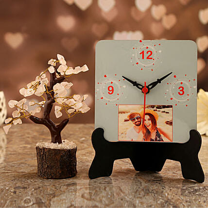 personalised table clock with wish tree for valentine
