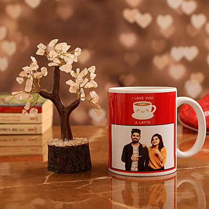 Customised Couple Photo  Mug and Rose Quartz Wish Tree