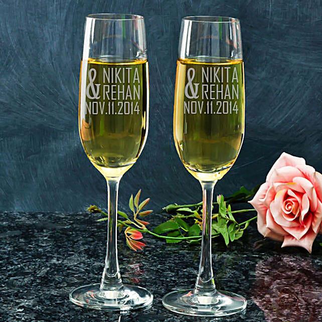 Customised Couple Set Champagne Glasses:Personalised Glassware