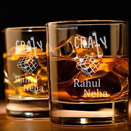 personalised glass set of 2 for parents:Personalised Glassware
