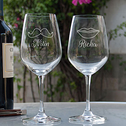 Customised  Couple Wine Glasses
