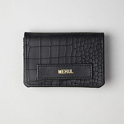 Personalised Croco Black Card Holder:Personalised Accessories