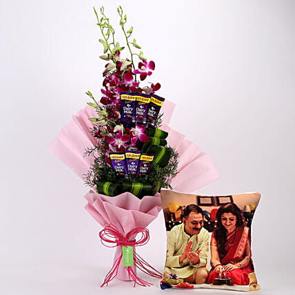 Personalized Cushion & Orchids Dariy Milk Bouquet