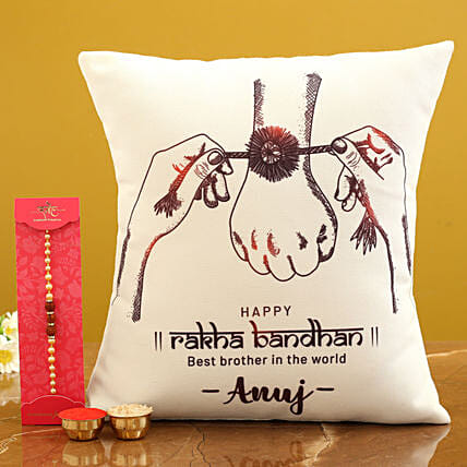 Personalised Cushion and Rakhi For Brother