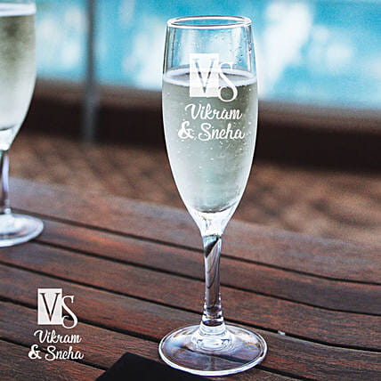 Personalised Cute Champagne Glass Set of 2 Online