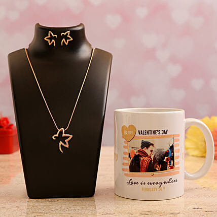 Customised  Photo Mug and Pretty Necklace Set:Personalised Gifts Combo for Valentine's Day