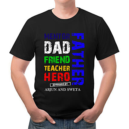 Personalised Dad Friend Teacher Black T Shirt
