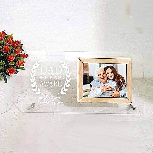 dad of year printed photo frame