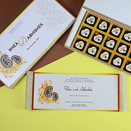 Classic Wedding Invitation Card and Chocolates