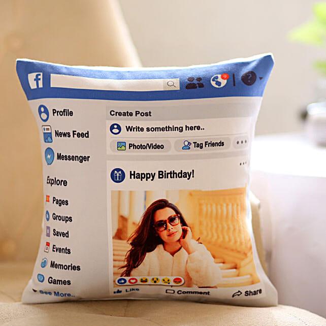 Facebook Theme Birthday Cushion Online