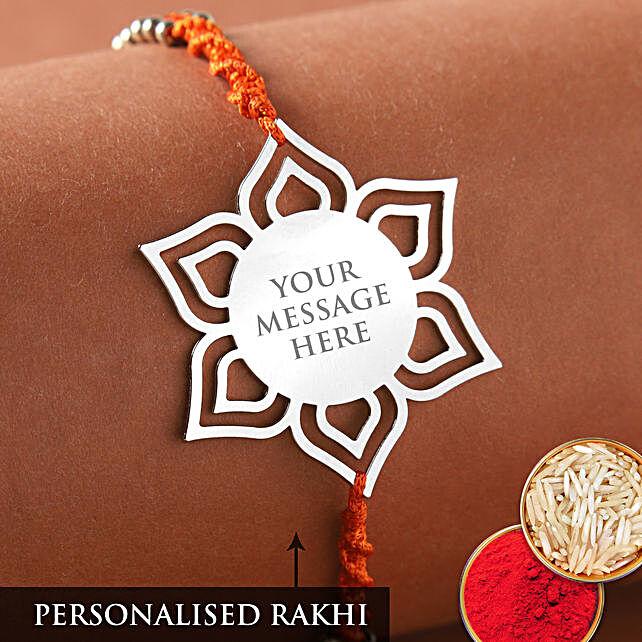 Personalised Floral Metal Designer Rakhi:Send Personalised Rakhi