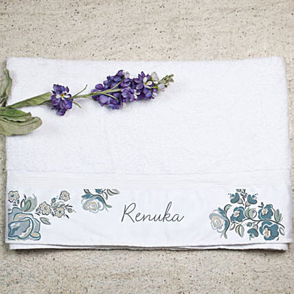 Personalised Floral Print Bath Towel