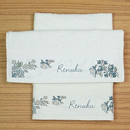 Personalised Floral Print Hand Towel Set:Personalised Towels