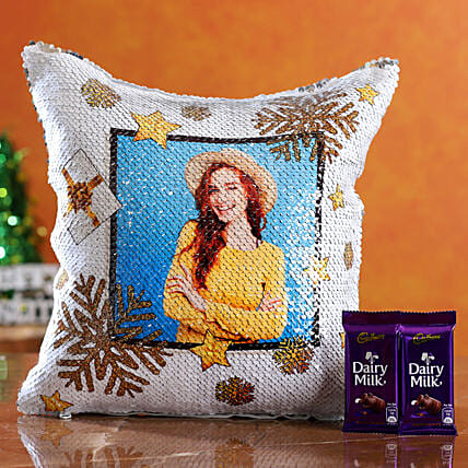 christmas theme cushion with chocolate for her online