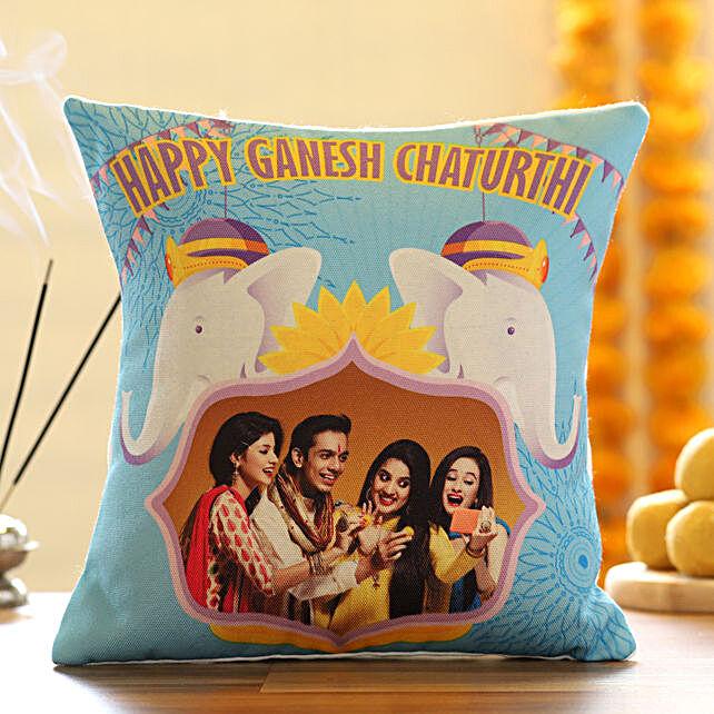 Family Photo Cushion for Ganesh Chaturthi