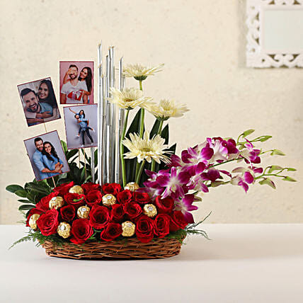 Online Customised Gerberas & Orchids Arrangement