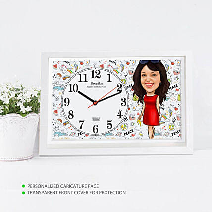 Online Personalised Girl Caricature Wall Clock:Personalised Photo Clock