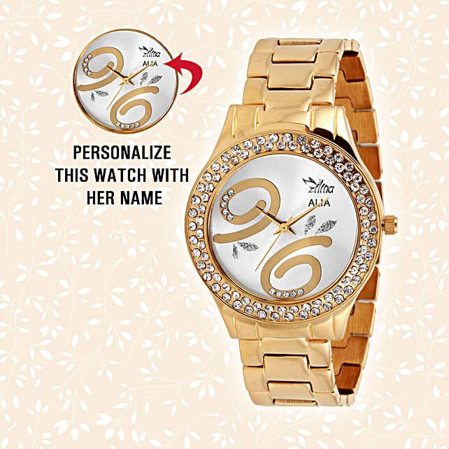 Personalised Glistening Golden Watch